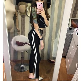 Code Yellow Women's White Double Narrow Side Stripe Stretchable Black Jeggings Yoga Gym Wear