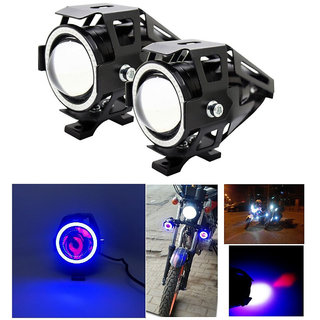 STAR SHINE U7 LED Fog Light Bike Driving DRL Fog Light Spotlight, High/Low Beam, Flashing-With Blue Angel Eyes Light Ring (Pack of 2) U 7 Led Fog Light Blue Angel Eye (Blue)  Free 1 PC Switch For Toyota Land Cruiser Prado