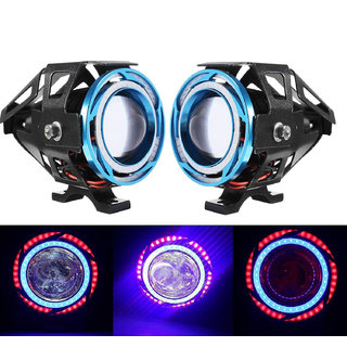 STAR SHINE 2 Pieces U11 CREE-LED - Head Hunters LED Projector 3000LMW Headlight Fog Lamp (Dual Ring Red Blue) Fog Light Free 1 PC Switch(Pack of 2) U11 Led Fog Light Blue Angel Eye (Blue) For Royal Bullet  Thunder Bird 350