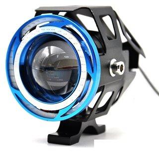 STAR SHINE 1 Pieces U11 CREE-LED - Head Hunters LED Projector 3000LMW Headlight Fog Lamp (Dual Ring Red Blue) Fog Light Free 1 PC Switch(Pack of 1) U11 Led Fog Light Blue Angel Eye (Blue) For Yamaha YBR 125