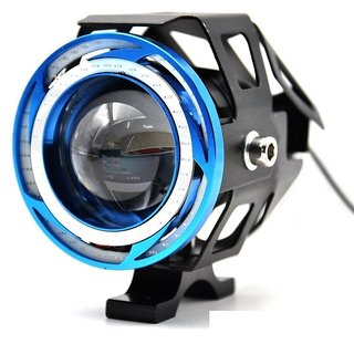 STAR SHINE 1 Pieces U11 CREE-LED - Head Hunters LED Projector 3000LMW Headlight Fog Lamp (Dual Ring Red Blue) Fog Light Free 1 PC Switch(Pack of 1) U11 Led Fog Light Blue Angel Eye (Blue) For LML CRD-100