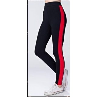 Code Yellow Women's Wide Red Side Stripe Stretchable Trendy Black Jeggings Yoga Gym Wear