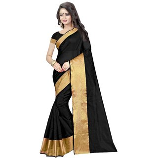 Active Womens Cotton Silk Printed Saree Black Color