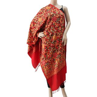 Red Woollen Floral Embroidered Shawl