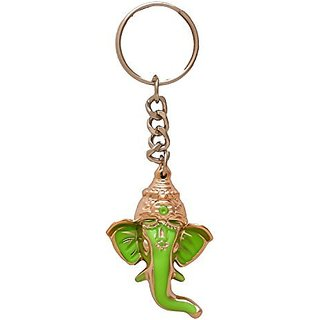 Lord Ganesha Green Keyrings Metal Keychains Combo Pack