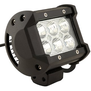 STAR SHINE 6 LED   Heavy Duty CREE LED Fog Light/ Work Light  Spot Beam Off Road Driving Lamp Universal Fitting for All Bikes and Cars 18W,   (Pack of 1) 6 LED   Heavy Duty CREE LED Fog Light/ fog light Free 1 PC Switch For TVS Max 4R
