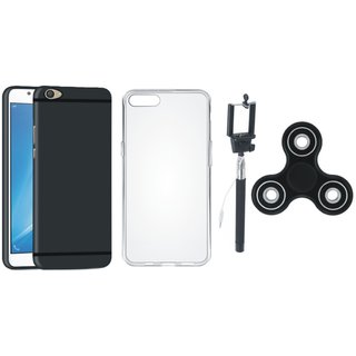 Oppo F7 Soft Silicon Slim Fit Back Cover with Spinner, Silicon Back Cover, Free Silicon Back Cover and Selfie Stick