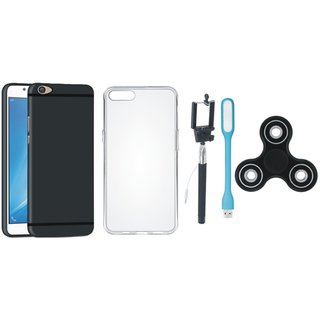 Oppo F7 Soft Silicon Slim Fit Back Cover with Spinner, Silicon Back Cover, Selfie Stick and USB LED Light