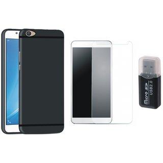 Vivo V9 Silicon Anti Slip Back Cover with Memory Card Reader, Tempered Glass