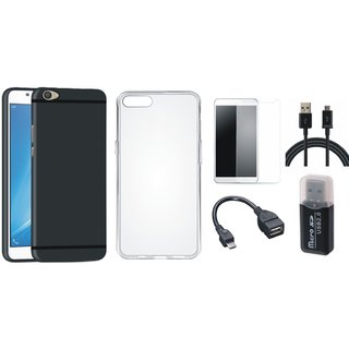 Vivo V9 Stylish Back Cover with Memory Card Reader, Silicon Back Cover, Tempered Glass, OTG Cable and USB Cable