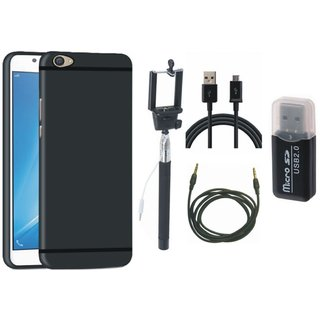 Vivo V9 Silicon Anti Slip Back Cover with Memory Card Reader, Selfie Stick, USB Cable and AUX Cable