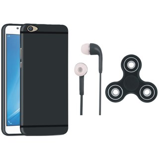 Oppo F7 Silicon Slim Fit Back Cover with Earphones and Spinner