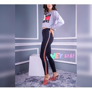 Narrow White-Red-White Ride or Side Stripes Stretchable Trendy  Legging / Jegging / Gym Wear / Yoga Wear /Sport's Wear