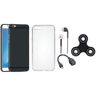 Oppo F7 Silicon Slim Fit Back Cover with Spinner, Silicon Back Cover, Earphones and OTG Cable