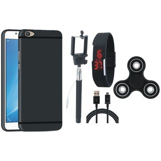 Vivo V9 Silicon Slim Fit Back Cover with Spinner, Selfie Stick, Digtal Watch and USB Cable
