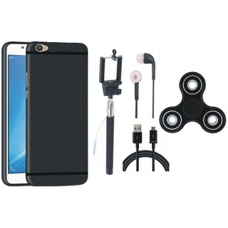 Vivo V9 Silicon Slim Fit Back Cover with Spinner, Selfie Stick, Earphones and USB Cable