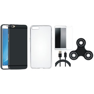 Vivo V9 Silicon Slim Fit Back Cover with Spinner, Silicon Back Cover, Tempered Glass and USB Cable