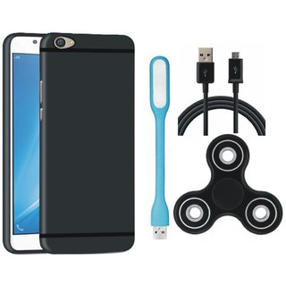 Samsung J5 Prime Soft Silicon Slim Fit Back Cover with Spinner, USB LED Light and USB Cable
