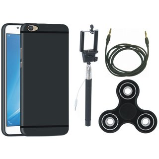 Samsung J5 Prime Soft Silicon Slim Fit Back Cover with Spinner, Selfie Stick and AUX Cable