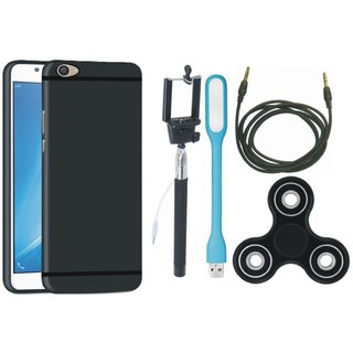 Samsung J5 Prime Soft Silicon Slim Fit Back Cover with Spinner, Selfie Stick, USB LED Light and AUX Cable