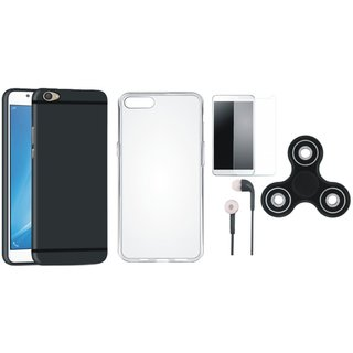 Vivo V5s Silicon Anti Slip Back Cover with Spinner, Silicon Back Cover, Earphones and Tempered Glass
