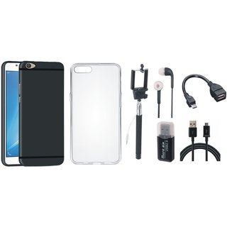 Vivo V5 Stylish Back Cover with Memory Card Reader, Silicon Back Cover, Selfie Stick, Earphones, OTG Cable and USB Cable