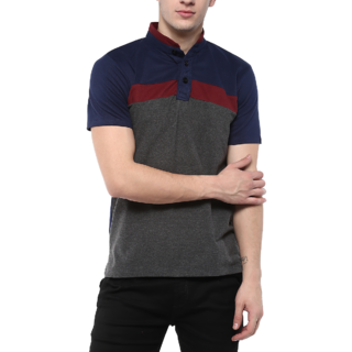 Urbano Fashion Men's Navy, Maroon, Grey Half Sleeve Cotton Chinese Collar T-Shirt