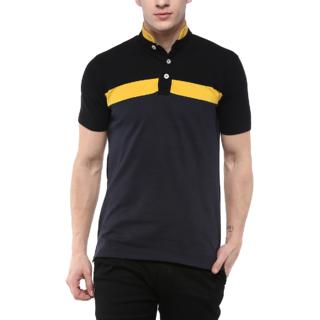 Urbano Fashion Men's Black, Yellow, Navy Half Sleeve Cotton Chinese Collar T-Shirt (Size : Small)