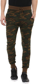 Urbano Fashion Men's Camouflage/Military Printed Olive Green Cotton Track Pants
