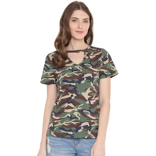Gritstones Olive Green/Army Print Cut Out Army Camo Print Top