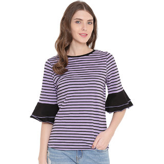Gritstones Purple/Black Round Neck Printed Top