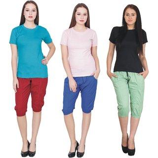 3 T-Shirt  3 Capri Combo for Girls/Women