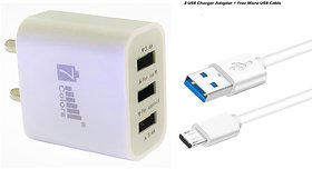 Fast Charger 3.4 A  Power Adapter 3 USB ( Free Micro USB Type B Cable )