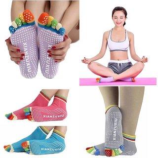 3 Pairs Womens 5-Toe Colorful Yoga Gym Non Slip Massage Toe Socks Full Grip