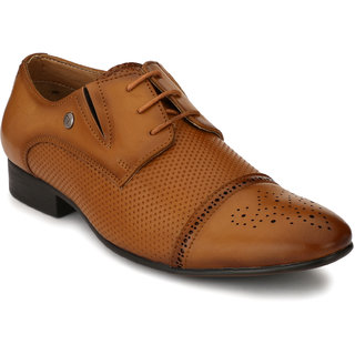 El Paso Men's Tan Leather Like Cap Toe Oxford Brogue Shoes
