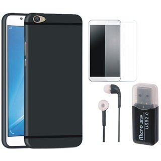 Samsung On7 Prime Soft Silicon Slim Fit Back Cover with Memory Card Reader, Earphones and Tempered Glass