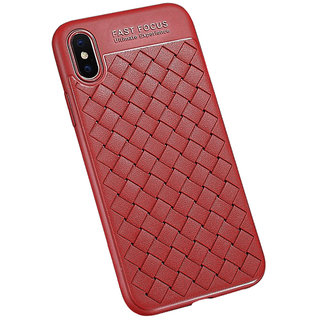 Grid Weaving Phone Cases For iPhone 7 Plus Cases Ultra Thin Soft TPU Silicone Protective Case - Red