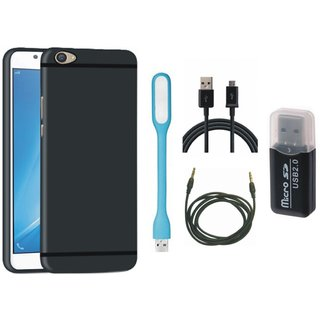 Samsung On7 Prime Soft Silicon Slim Fit Back Cover with Memory Card Reader, USB LED Light, USB Cable and AUX Cable
