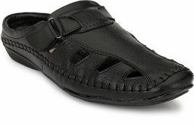 El Paso Men's Black Artificial Leather Back Open VElcro Casual Sandals