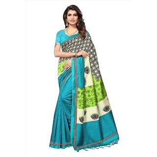 b789ec8deb1ba5 Buy Indian Beauty Women s Blue Printed Art Silk Saree With Blouse ...