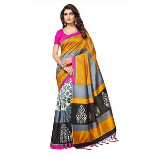 a3219a0b104c8f Buy Indian Beauty Women s Yellow Printed Art Silk Saree With Blouse Online  - Get 80% Off