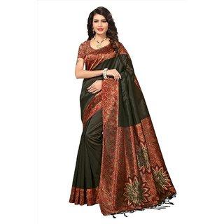 d87956d698fbcf Buy Indian Beauty Women s Black Printed Art Silk Saree With Blouse ...
