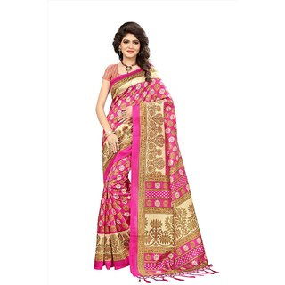 2ef4b7e4e14cd Buy Indian Beauty Women s Pink Printed Art Silk Saree With Blouse ...