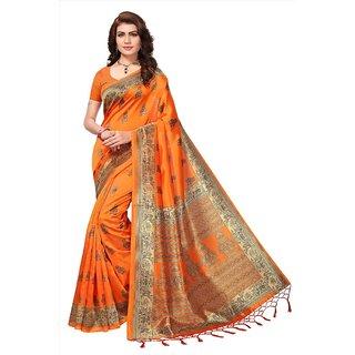 3caacd2f200ac Buy Indian Beauty Women s Orange Printed Art Silk Saree With Blouse ...