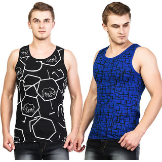 White Moon Men's 100% Cotton Printed Multi Gym Vest ( Pack of 2 )