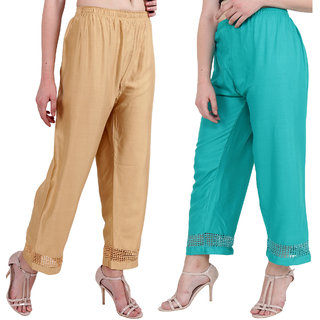 Beige and Green Stylish & comfortable Plazo Pants