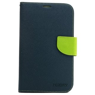 Universal Blue with Green Color Vimkart mobile wallet Flip cover case, guard, protector for 5.3 inch mobile Tecno