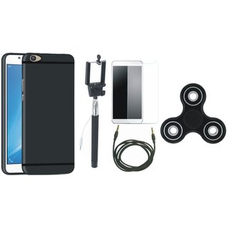 Samsung J7 Prime SM G610F Premium Back Cover with Free Spinner, Selfie Stick, Tempered Glass and AUX Cable