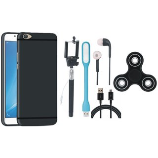 Samsung J7 Prime SM G610F Premium Back Cover with Spinner, Selfie Stick, Earphones, USB LED Light and USB Cable