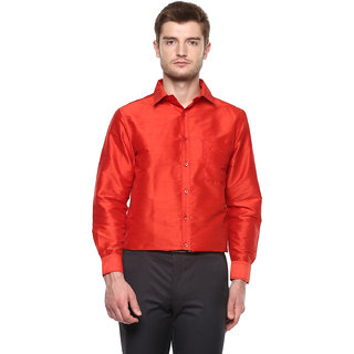 Khoday Williams Men's Red Poly Silk Solid Party Shirt